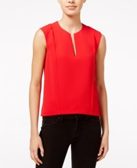 Armani Exchange Textured Split Neck Shell