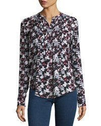 Veronica Beard Goldie Floral Silk Tuxedo Blouse Black Navy Red White Blk Navy Red Wht