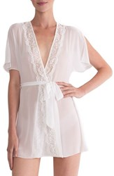 In Bloom By Jonquil Women's Lace Trim Chiffon Robe Ivory