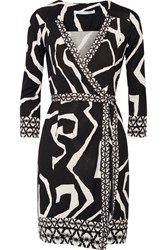 Diane Von Furstenberg Tallulah Printed Silk Jersey Wrap Dress Black