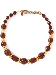 Yves Saint Laurent Vintage Beaded Necklace Brown