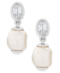 Eliot Danori Rhodium Plated Cubic Zirconia And Imitation Pearl Drop Earrings Silver