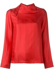 Each X Other Pinstriped Blouse Red