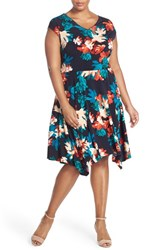 Plus Size Women's Ellen Tracy Print Jersey Handkerchief Hem Dress