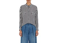 Tomorrowland Women's Striped Georgette Blouse Navy