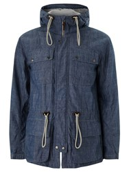 Pretty Green Tarbet Chambray Hooded Jacket Blue