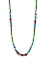 Stephanie Kantis Navajo Green Turquoise Howlite Blue Turquoise Howlite And Smoky Topaz Beaded Necklace