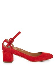 Aquazzura Sweet Thing Suede Block Heel Pumps Red