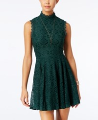 City Studios Juniors' Lace Mock Neck Fit And Flare Dress Hunter Green