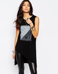 Noisy May Side Split Tunic Top With Paisley Detail Black