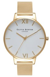 Olivia Burton Women's 'Big Dial' Mesh Strap Watch 38Mm Gold White