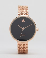 Asos Large Matte Black Face Watch With Skinny Bracelet Strap Rose Gold