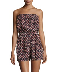 Romeo And Juliet Couture Strapless Woven Floral Romper Multicolor