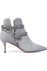 Valentino The Rockstud Leather Trimmed Suede Ankle Boots Light Blue