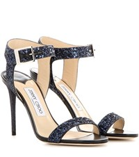 Jimmy Choo Truce 100 Glitter Sandals Blue