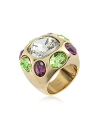 A Z Collection Multicolor Crystal Ring Gold