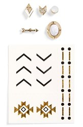 Topshop Women's Mismatched Stud Earrings And Temporary Tattoos Silver Multi