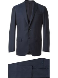 Caruso Slim Three Piece Suit Blue