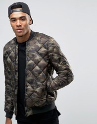 Pull And Bear Pullandbear Quilted Bomber Jacket In Camo Khaki Green