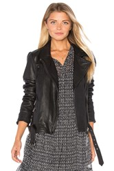 Maison Scotch Leather Biker Jacket Black