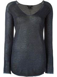 Avant Toi V Neck Relaxed Fit Jumper Blue