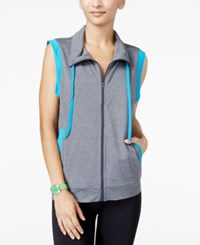 Energie Active Juniors' Contrast Trim Cowl Neck Vest Heather Grey