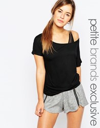 One Day Petite Off Shoulder Jersey Top Black