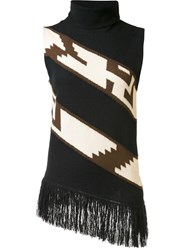 Ralph Lauren Collection Fringed Knit Blouse Black