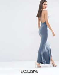 Club L Slinky Wrap Over Maxi Dress With Cross Back Gray