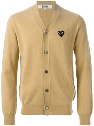 Comme Des Garcons Play Logo Patch V Neck Cardigan Nude And Neutrals