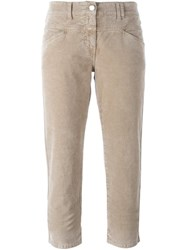 Closed Flared Cropped Trousers Nude Neutrals