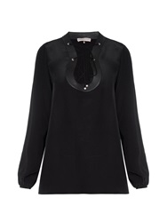 Emilio Pucci Scoop Neck Lace Up Silk Blouse
