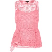 River Island Womens Pink Lace Peplum Top
