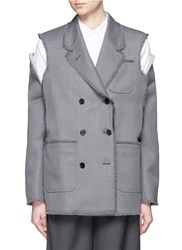 Thom Browne Cold Shoulder Double Breasted Wool Twill Jacket Grey