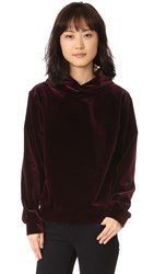 The Kooples Sport Hooded Velvet Sweatshirt Burgundy