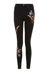 Topshop Moto Floral Embroidered Raw Hem Jamie Jeans Black