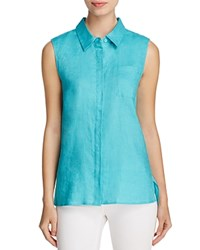 Finity Sleeveless Linen Shirt Turquoise