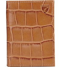 Aspinal Of London Crocodile Embossed Double Leather Card Holder Tan