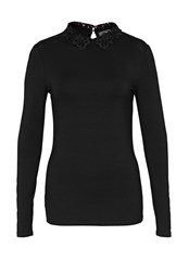 Hallhuber Lace Collar Long Sleeve Black