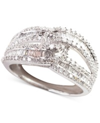 Macy's Diamond Intersecting Baguette Ring 1 Ct. T.W. In 14K White Gold