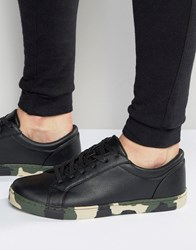 Asos Lace Up Trainers In Black With Camo Sole Black