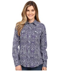 Cinch Cotton Plain Weave Fit Purple Women's Long Sleeve Button Up