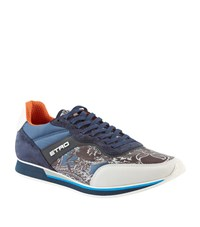 Etro Paisley Mixed Fabric Trainer Male Blue