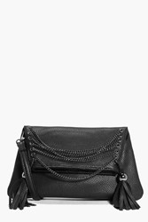 Boohoo Chain And Eyelet Cross Body Bag Black