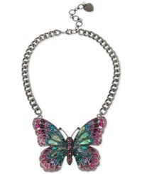 Betsey Johnson Hematite Tone Pave And Stone Butterfly Collar Necklace Silver