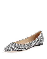 Halston Valerie Snake Embossed Pointed Toe Flat White Black