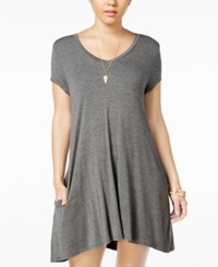 Trixxi Juniors' Strappy Back T Shirt Dress Heather Grey