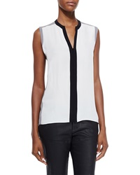 Elie Tahari Karrie Sleeveless Silk Colorblock Blouse