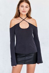 Silence And Noise Bellatrix Off The Shoulder Criss Cross Top Black