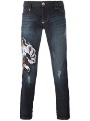 Philipp Plein Embroidered Lion Jeans Blue